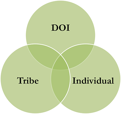 Venn Diagram illustrating the connection between the Department of Interior, the Tribe and the Individual.